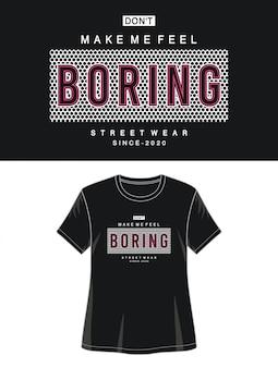 プリントtシャツの女の子のための退屈なタイポグラフィ