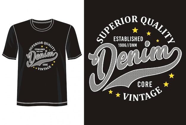 プリントtシャツのデニムタイポグラフィ
