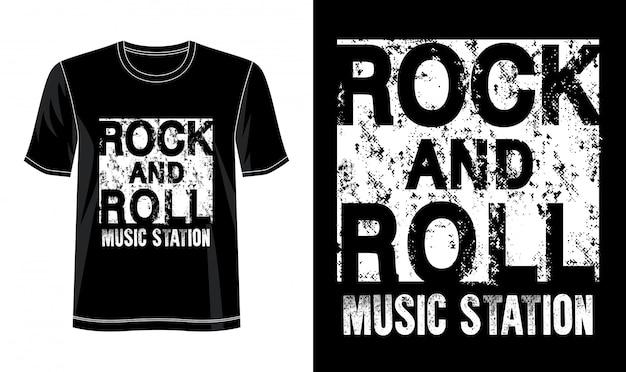 プリントtシャツのロックンロールタイポグラフィ