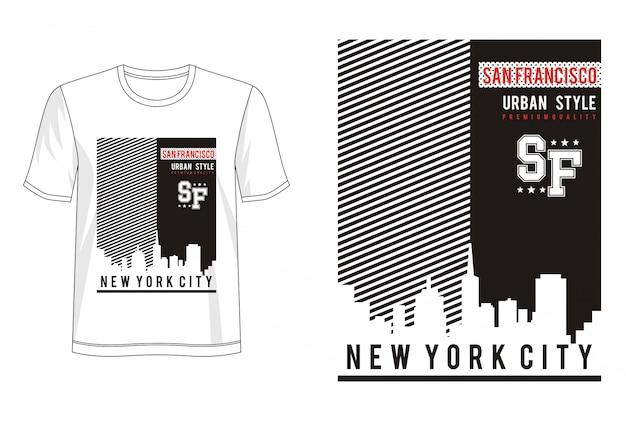 プリントtシャツのサンフランシスコタイポグラフィ