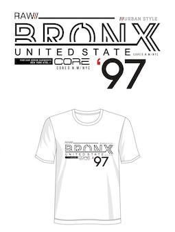 プリントtシャツのブロンクスタイポグラフィ
