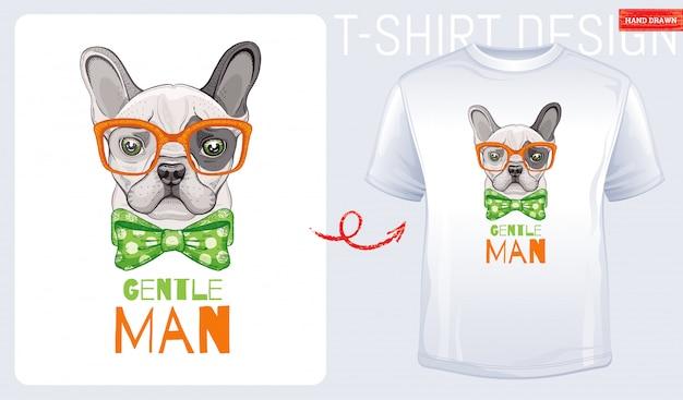 かわいいブルドッグ犬のtシャツ