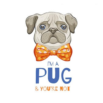 かわいいパグ犬。 tシャツプリント、ポスター、カートデザインのスケッチを落書き。