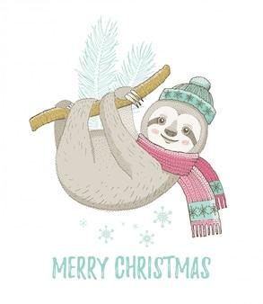 かわいいクリスマスのナマケモノ。グリーティングカードやtシャツのプリントデザイン。