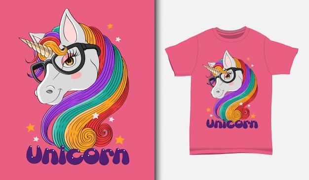 Tシャツのデザイン、手描きのかわいいユニコーンイラスト