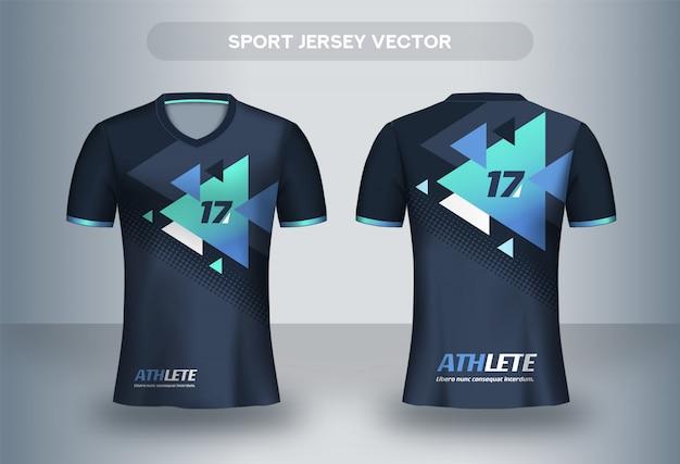 フットボールジャージーデザインテンプレート。コーポレートデザインシャツ。サッカークラブのユニフォームtシャツの前面と背面。