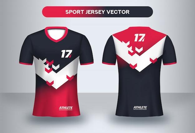 フットボールジャージーデザインテンプレート。コーポレートデザイン、サッカークラブのユニフォームtシャツの正面図と背面図。