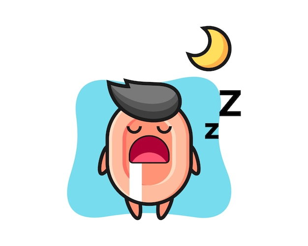 夜寝ている石鹸キャライラスト、tシャツ、ステッカー、ロゴ要素のかわいいスタイル