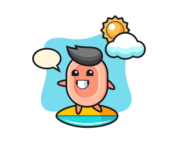 石鹸の漫画のイラストがビーチでサーフィン、tシャツ、ステッカー、ロゴの要素のかわいいスタイル