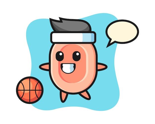 石鹸の漫画のイラストはバスケットボール、tシャツ、ステッカー、ロゴの要素のかわいいスタイルを遊んでいます。
