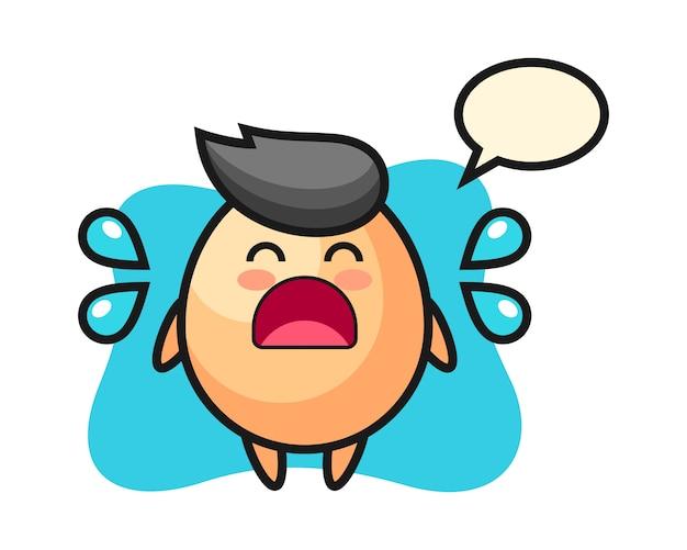 泣いているジェスチャー、tシャツ、ステッカー、ロゴの要素のかわいいスタイルの卵漫画イラスト