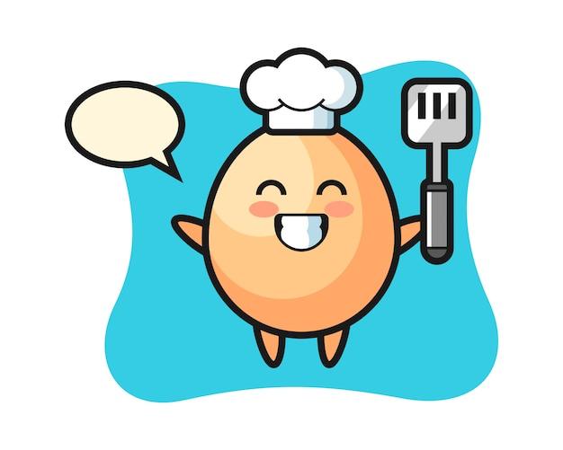 シェフが卵のキャラクターイラストを調理している、tシャツ、ステッカー、ロゴの要素のかわいいスタイル