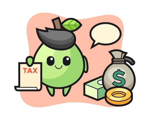 会計士としてのグアバのキャラクター漫画、tシャツ、ステッカー、ロゴ要素のかわいいスタイルのデザイン