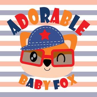 子供のtシャツのデザイン、子供の保育園の壁やグラフィックの壁紙のためのかわいいキツネのベクトルの漫画のイラスト