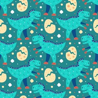 小さなかわいい青いtレックス。小さなかわいい黄色の恐竜の卵。先史時代の動物パターン