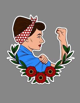 Tシャツに印刷するための色ベクトルイラスト。美しい女性は抗議で拳を示しています。花飾りとビンテージスタイルの女性のステッカーの肖像画をデザインします。女性フェミニストタトゥーコンセプト