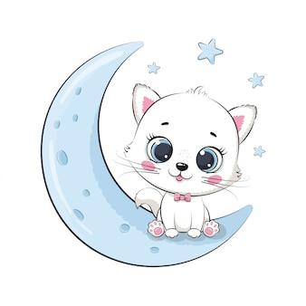 月に座っているかわいい赤ちゃん猫。ベビーシャワー、グリーティングカード、パーティーの招待状、ファッション服tシャツプリントのイラスト。