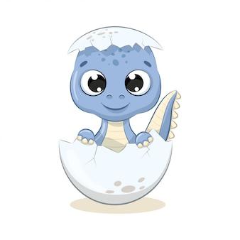 かわいい赤ちゃん恐竜のイラスト。ベビーシャワー、グリーティングカード、パーティーの招待状、ファッション服のtシャツプリントのイラスト。