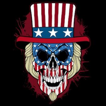 頭蓋骨おじさんサムアメリカ国旗tシャツデザイン