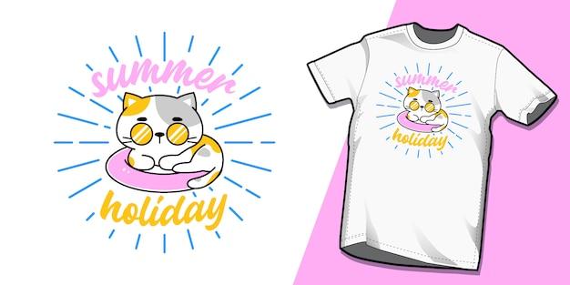 夏のtシャツテンプレートデザインの猫