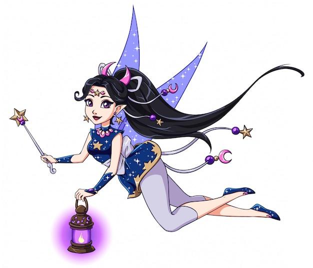 ランタンと魔法の杖を保持しているかなり漫画の妖精。黒い髪、青いドレス。月、星。子供のモバイルゲーム、本、tシャツのデザインテンプレートなどの手描きイラスト