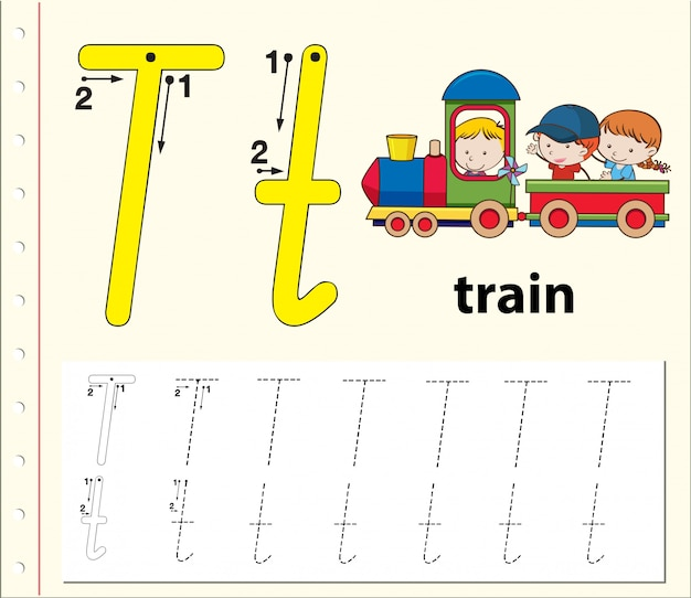 Буква t, трассирующая алфавит