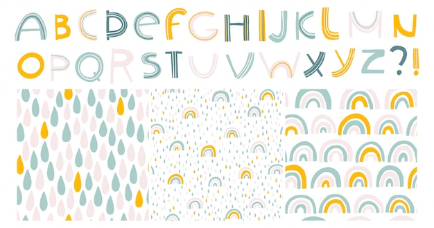 虹と滴。アルファベットとシームレスなパターン。北欧の子供はパステルカラーで描かれたイラストを手します。 tシャツ、テキスタイル、カードに印刷するための分離セット