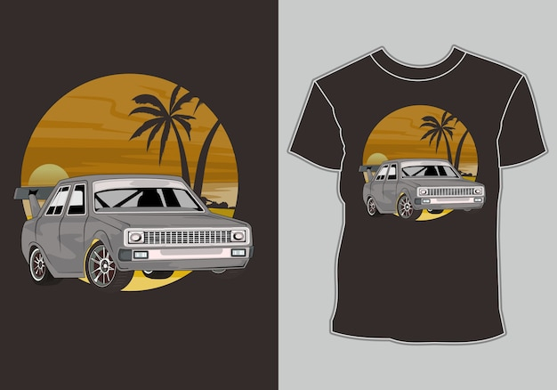 夏のtシャツクラシック、ヴィンテージ、ビーチでレトロ車
