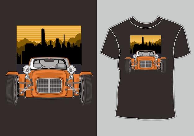 市内のアートワーククラシック、ヴィンテージ、レトロな車のtシャツ