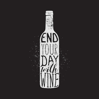 ワインのタイポグラフィデザイン、アパレルデザイン、tシャツプリント。ワインの引用で一日を締めくくりましょう。