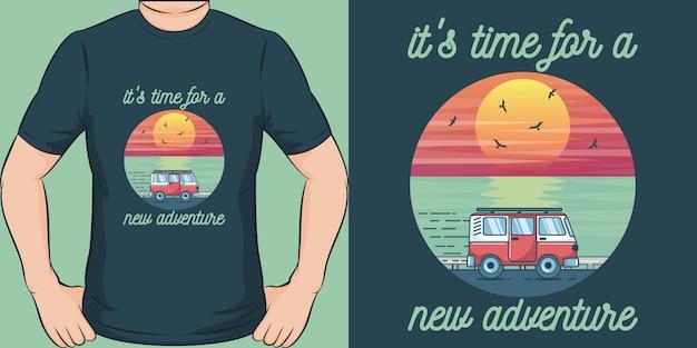 新しい冒険の時間です。ユニークでトレンディなアドベンチャーtシャツのデザイン