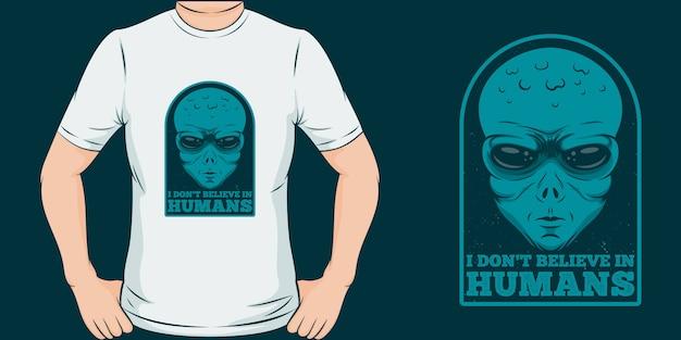 私は人間を信じない。ユニークでトレンディなtシャツのデザイン