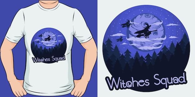 魔女隊。ユニークでトレンディなtシャツのデザイン