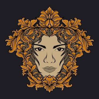 花飾りでアートワーク小話とtシャツのデザインの女性の顔