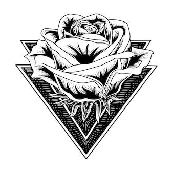 三角形で黒と白の手描きのタトゥーとtシャツのデザインローズ