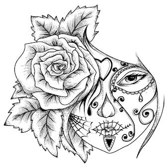 バラとタトゥーとtシャツのデザインの女性のタトゥー