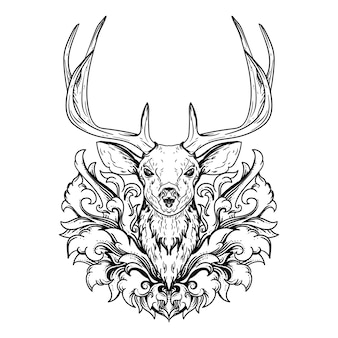 タトゥーとtシャツのデザインの黒と白の手描きイラスト鹿の頭と彫刻の飾り