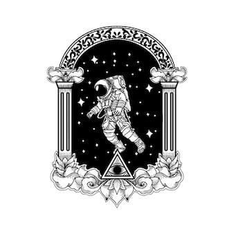タトゥーとtシャツのデザインの宇宙飛行士