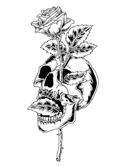 タトゥーとtシャツデザイン黒と白の頭蓋骨とローズプレミアム