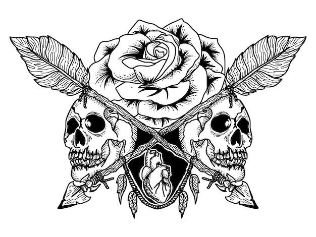 タトゥーとtシャツのデザインスカル、バラの矢印とハートプレミアム