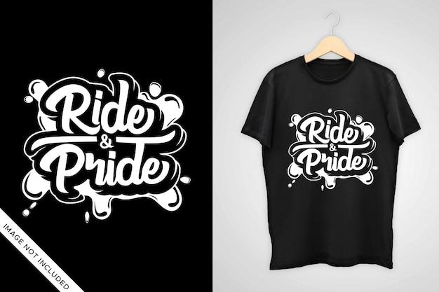 Tシャツのデザイン、装飾などのライドとプライドのレタリング