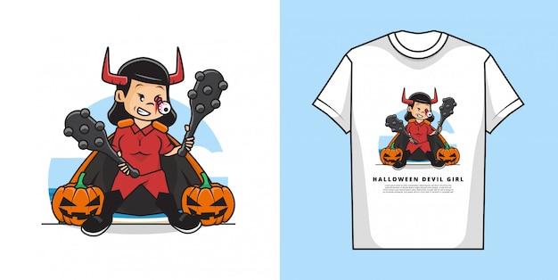 ハロウィーンの衣装を着ているかわいい女の子のイラストは、カボチャとtシャツのデザインで悪魔の衣装です。