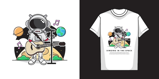 宇宙でギターを弾いて歌うかわいい宇宙飛行士の少年のイラスト。とtシャツのデザイン。