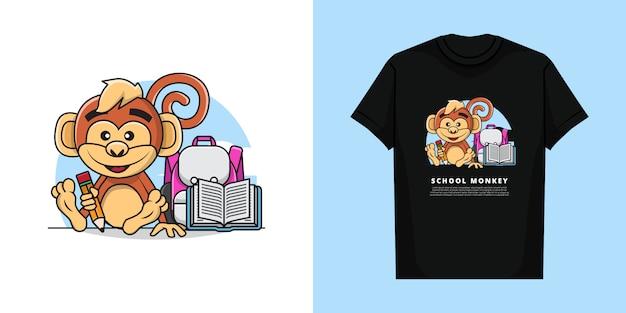 Tシャツのデザインで学校に戻る準備ができている鉛筆を保持している愛らしい猿のイラスト