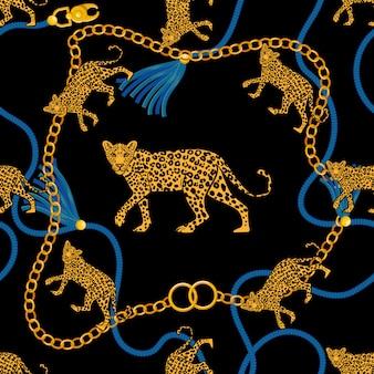 ゴールドチェーン編みロープと怒っている野生のヒョウの生地デザインファッションプリントtシャツポスター繊維刺繍とのシームレスなパターン。豊富な美しさのビンテージレトロなスタイルのイラスト。トレンディなグラフィックデザイン。