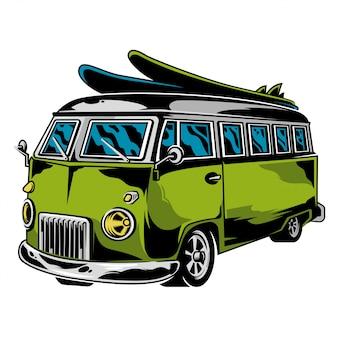 レトロなカスタム車の印刷デザインtシャツ服ロゴアイコンポスターステッカーのヒッピーイラストを描くレトロなカスタム車外ビーチサーフィンスタイルライフキャンプに自由旅行のビンテージグラフィックの古い学校の車