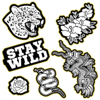 日本のドラゴン、ヒョウの野生の頭、金のヘビ、トレンドフレーズ、花の洋服tシャツボンバースウェットシャツのパッチまたはステッカーのファッションデザインプリントストリートブランドのモダンなトレンディなアイコン。