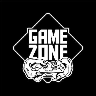 ゲームゾーンのゲーマーの手で、緑色のモンスターの恐竜がゲームパッドのジョイスティックコントローラを保持し、ビデオゲームをプレイします。オタク文化の人々のカスタムアイコンロゴプリントデザインイラストtシャツデザインアパレル