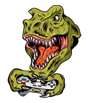 ビデオゲームアーケードのジョイスティックでゲームをプレイするtレックス恐竜ゲーマーの怒った頭。ゲームパッドコントローラーを備えたカスタムデザインのヴィンテージのイラスト。