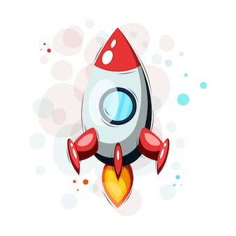 Tシャツやその他の目的のための手描きの漫画ロケット。